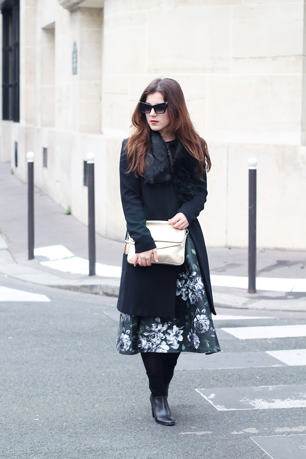 Floral skirt and fur