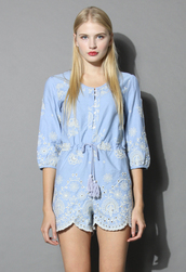 top,flower heaven playsuit,chicwish,floral