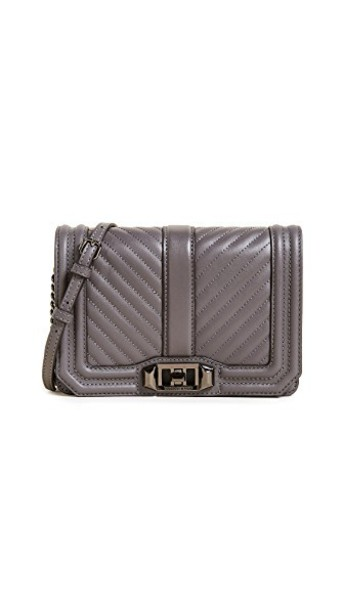 Rebecca Minkoff cross love quilted bag chevron new grey