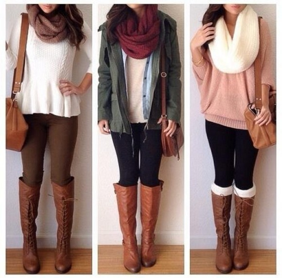 white scarf red scarf sweater brown leather boots brown bag white shirt pink sweater oversized sweater big scarf, oversized scarf, neutral scarf