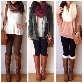 sweater jacket red scarf brown leather boots brown bag white shirt pink sweater oversized sweater big scarf, oversized scarf, neutral scarf white scarf scarf scarf red