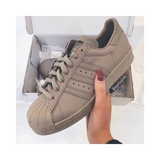 shoes taupe adidas adidas superstars