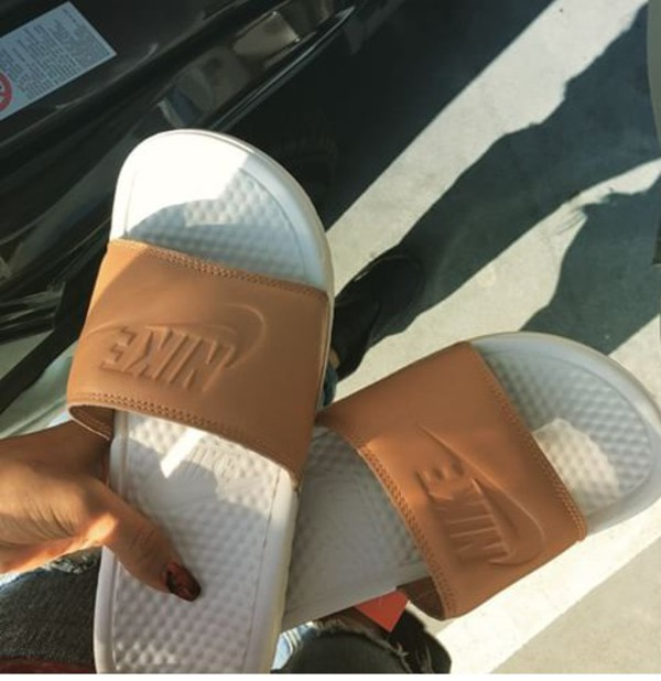 shoes nike nike slides nike slidders fashion style flops slide shoes white slide shoes nike benassi benassi sandals nike brown sandal nude nike sliders beige flats tan