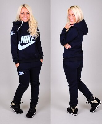 zip jacket hoodie nike tracksuit pants sportswear jumpsuit tracksuit bottoms long sleeves jumper sweatsuit high collar navy