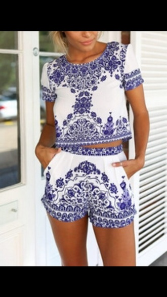 romper blue white two-piece embroidered cute