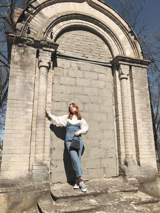 kristina magdalina blogger jumpsuit bag blouse shoes