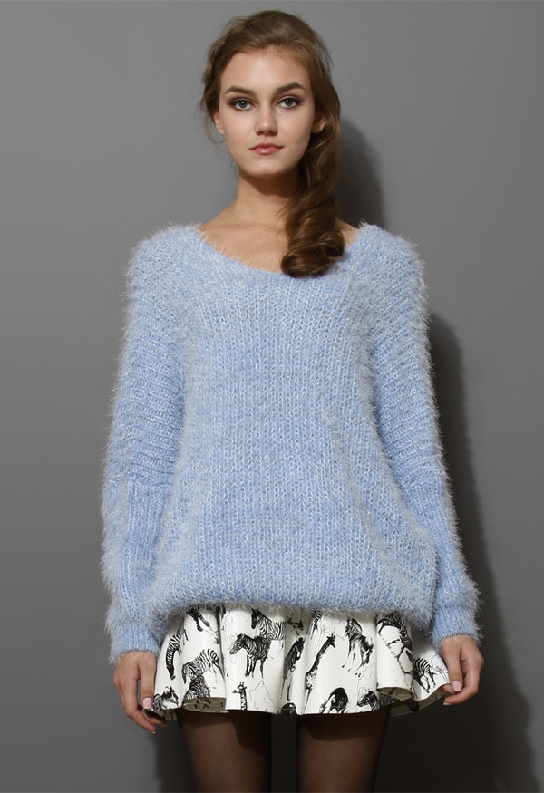 sweater v neck fluffy oversized blue