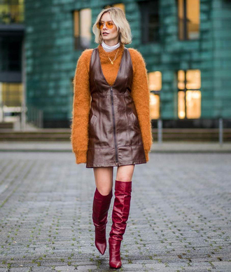 shoes tumblr boots red boots over the knee boots over the knee skirt brown skirt leather skirt sweater knit knitwear knitted sweater streetstyle