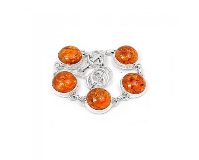 Beautiful 925 Sterling Silver Amber Bracelet