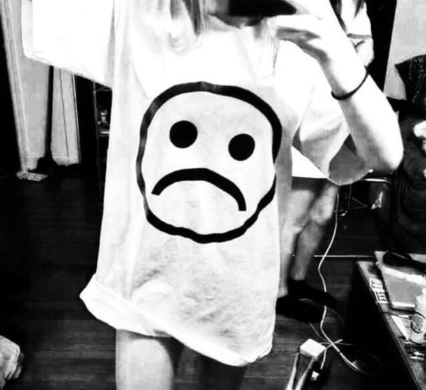shirt sad face grunge white