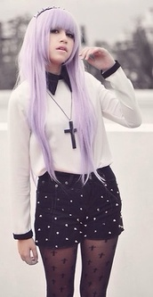blouse,pastel goth,pastel grunge,goth,kawaii,cross necklace,shorts,underwear,jewels,leggings,socks,goth hipster,black,tights,goth white blouse,crosses,nu goth,pastel hair,shirt,pastel,studded shorts,studs,collar,long sleeves,purple,pastel purple,hair accessory,headband,cute socks,frilly socks,platform shoes,cross,stockings,shoes,sweater
