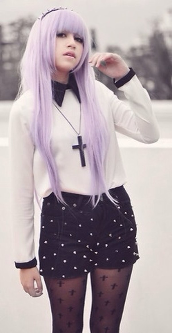 blouse pastel goth pastel grunge goth kawaii cross necklace shorts underwear jewels leggings socks goth hipster black tights goth white blouse crosses nu goth pastel hair shirt pastel studded shorts studs collar long sleeves purple pastel purple hair accessory headband cute socks frilly socks platform shoes cross stockings shoes sweater
