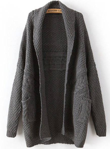 Dark Grey Long Sleeve Cable Knit Pockets Cardigan - Sheinside.com
