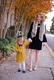 something delightful,blogger,dress,jacket,shoes,jewels,bag,tights,fall outfits,mother and child,velvet dress,bell sleeve dress,blue dress,pumps