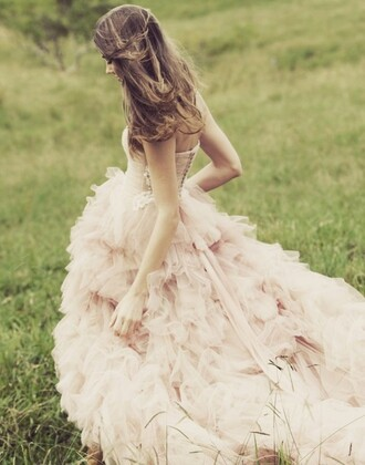 dress girly ruffle feathers pink light vintage pastel girl teenagers prom homecoming high low long dress bow cute pretty nice sweet cool girly girl girly things fancy tan white blush pink wedding princess beautiful wedding clothes