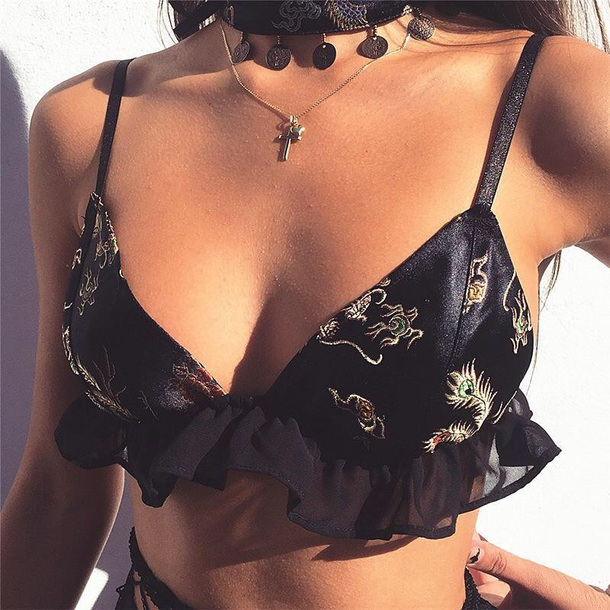 top girly black bralette cropped crop silk satin print dragons tumblr