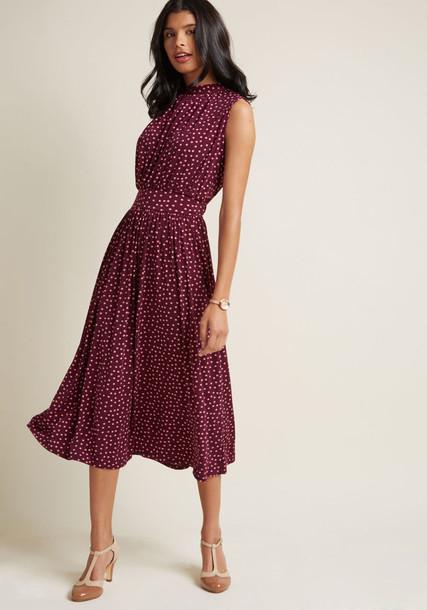 2688 dress midi dress lovely high midi polka dots purple pink red