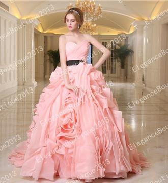 dress sash wedding dress ruffles pink dress