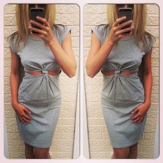 dress casual dress grey dress casual t-shirt front knot dress short sleeve dress short sleeve summer dress spring dress grey top