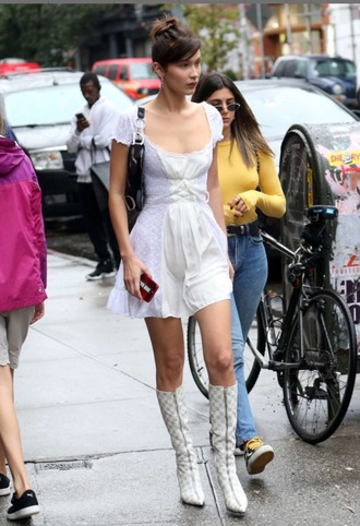 dress bella hadid white white dress mini dress summer dress pretty