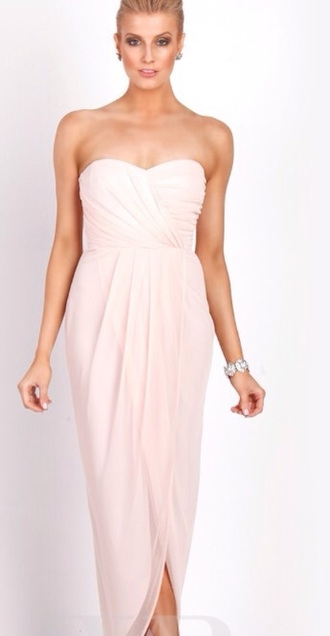 dress baby pink bridesmaid wedding