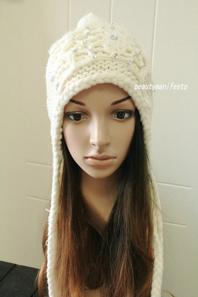 girl girly stylish crochet handmade knitwear cold winter hat ear flap women  white beautymanifesto f288fb66441