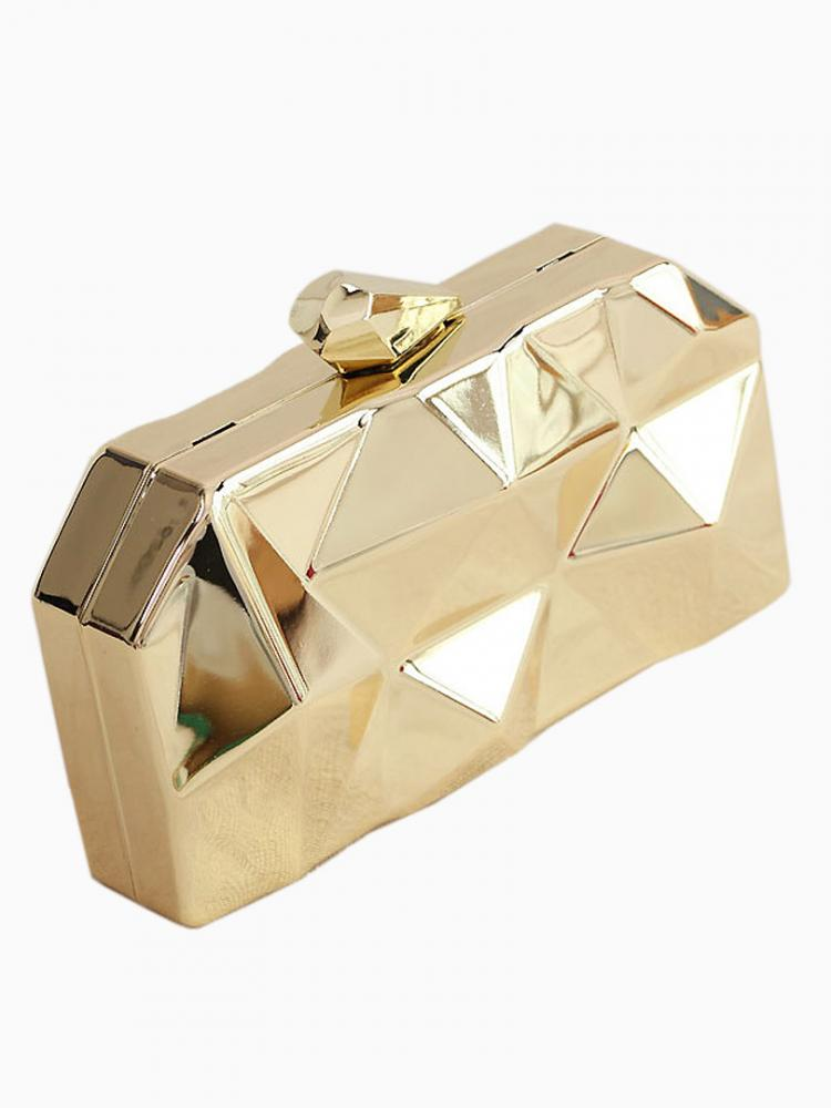 Geometrical Metallic Box Clutch Bag | Choies