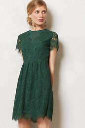 dress,green,short sleeve,mid length,lace dress,green dress,anthropologie