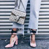 shoes,tumblr,velvet,velvet shoes,high heels,pink shoes,cropped jeans,denim,jeans,blue jeans,bag,gucci,gucci bag,dionysus,pink heels,block heels,thick heel,ankle strap heels,ankle strap,frayed denim,flare jeans,light blue jeans