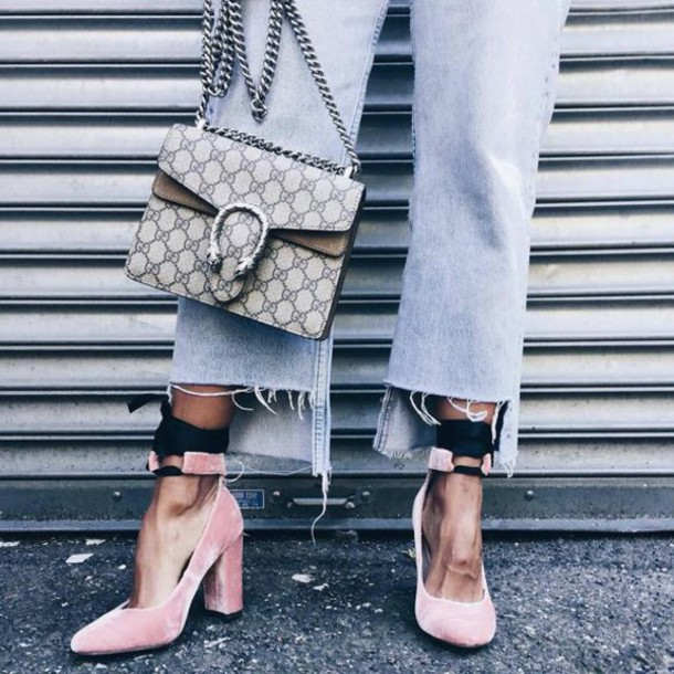 a84f4d9bd5bf shoes tumblr velvet velvet shoes high heels pink shoes cropped jeans denim  jeans blue jeans bag