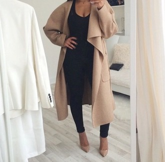 nude classy coat black tumblr jumpsuit aliexpress tan heels pumps kim kardashian