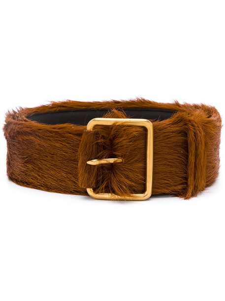 Prada - furry buckle belt - women - Calf Leather/Pony Fur - 90, Yellow/Orange, Calf Leather/Pony Fur