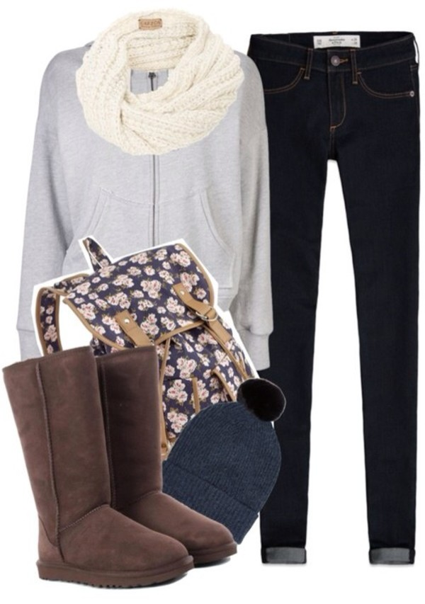 jacket hoodie sweatshirt floral floral backpack jeans scarf backpack ugg boots beanie hat shoes bag