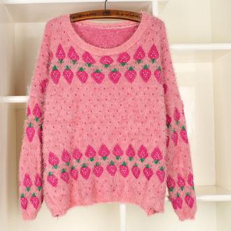 sweater jumper pink wool strawberry cute sweet pattern kawaii pastel