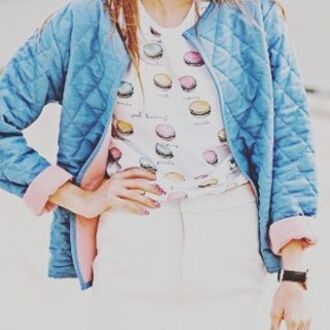 t-shirt yeah bunny sweet print macaroon macaroon shirt macaron white food roll-up sleeves folded sleeves