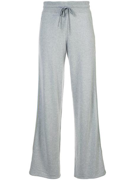 Marc Cain - drawstring stripe detail track pants - women - Silk/Cashmere - 38, Grey, Silk/Cashmere