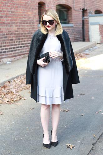 poor little it girl blogger winter coat wallet dress ruffle