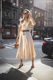 dress,belt,bag,sandals,midi dress,sunglasses