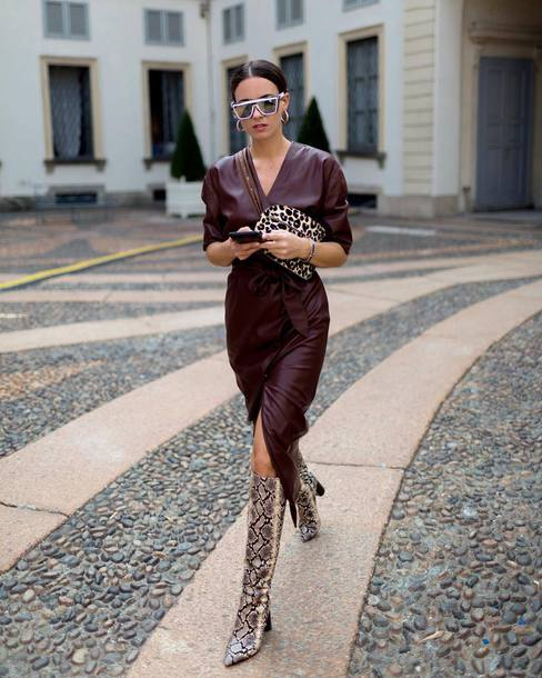 2a9ae93bbb9 shoes boots thigh high boots high heels boots snake print leather midi dress  clutch sunglasses leopard
