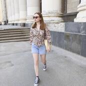 kristina magdalina,blogger,blouse,sunglasses,shorts,denim shorts,sneakers,spring outfits