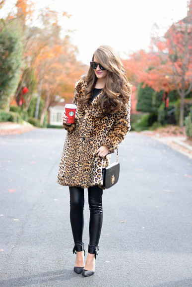 leopard print coat blogger bag leather pants southern curls and pearls