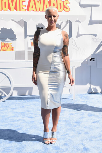 dress bodycon amber rose sandals shoes mtv movie awards