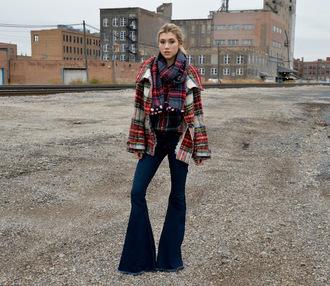 mermaid waves blogger wool jacket tartan flare jeans