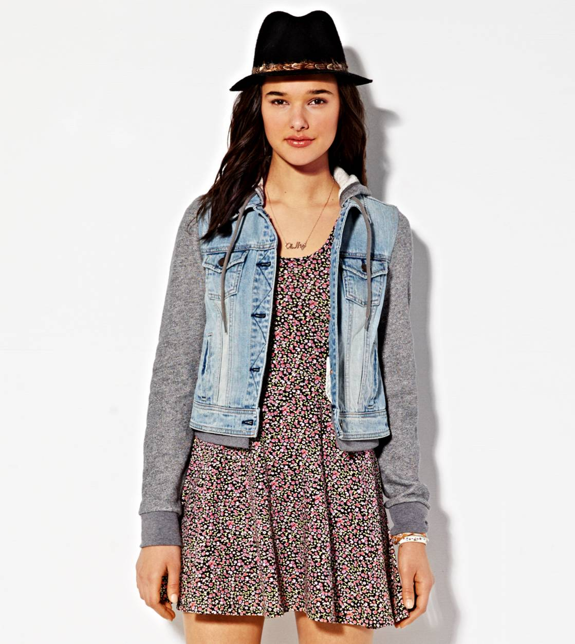 AE Denim Vested Hoodie, Light Wash | Aerie for American Eagle