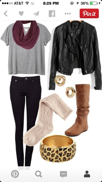 jeans black jeans leather jacket brown leather boots leopard bracelet gray t-shirts burgundy scarf t-shirt