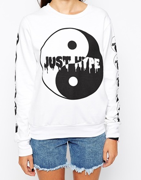 Hype x asos sweatshirt with dripping ying yang at asos.com