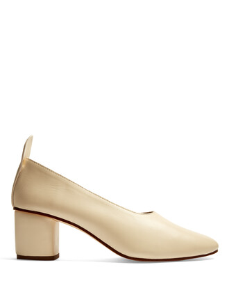 heel pumps leather white shoes