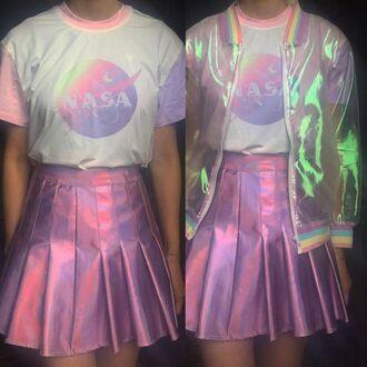 shirt holographic iridescent pastel pastel grugne cute bomber jacket pink pink skirt nasa logo