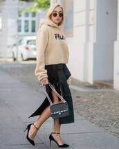 sweater,skirt,tumblr,hoodie,sweatshirt,midi skirt,slit skirt,bag,black bag,high heels,heels,streetstyle,fila