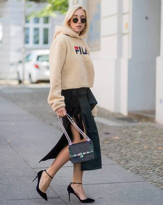 sweater skirt tumblr hoodie sweatshirt midi skirt slit skirt bag black bag high heels heels streetstyle fila